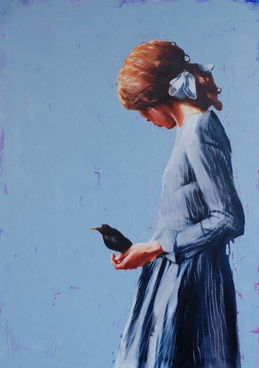 Ugly girl with an unnamed bird painting by Igor Shulman