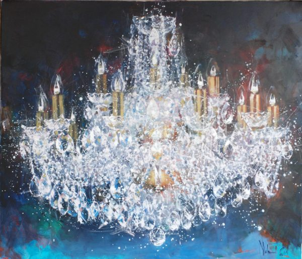 Large cristal chandelier. 4 try original painting by Igor Shulman