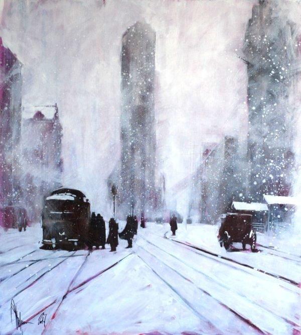 Winter. Retro original painting by Igor Shulman