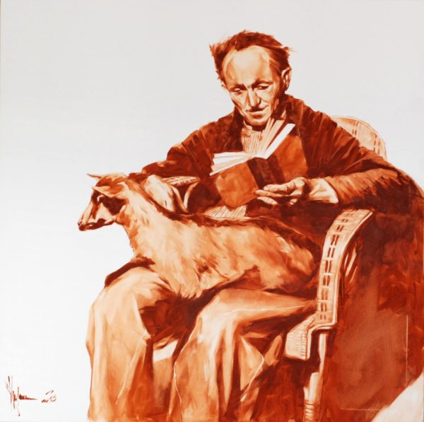 Old man with a goat original painting by Igor Shulman