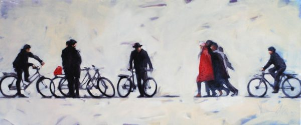 About People and Bikes original painting by Igor Shulman