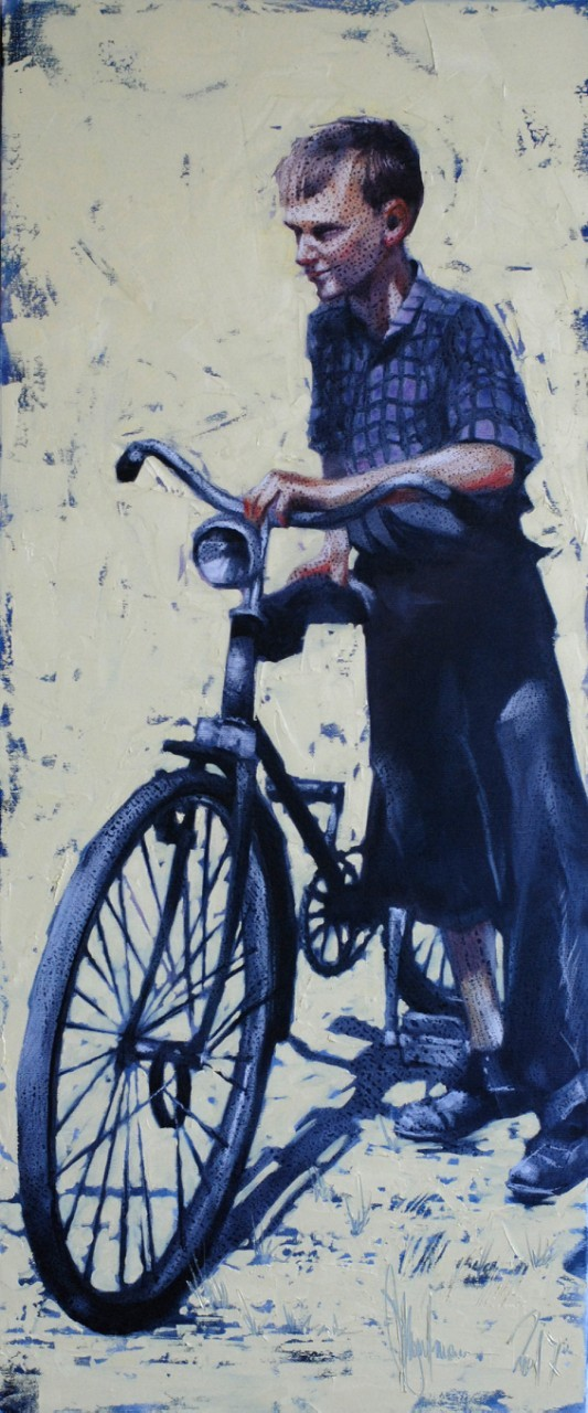 My First Bike original painting by Igor Shulman