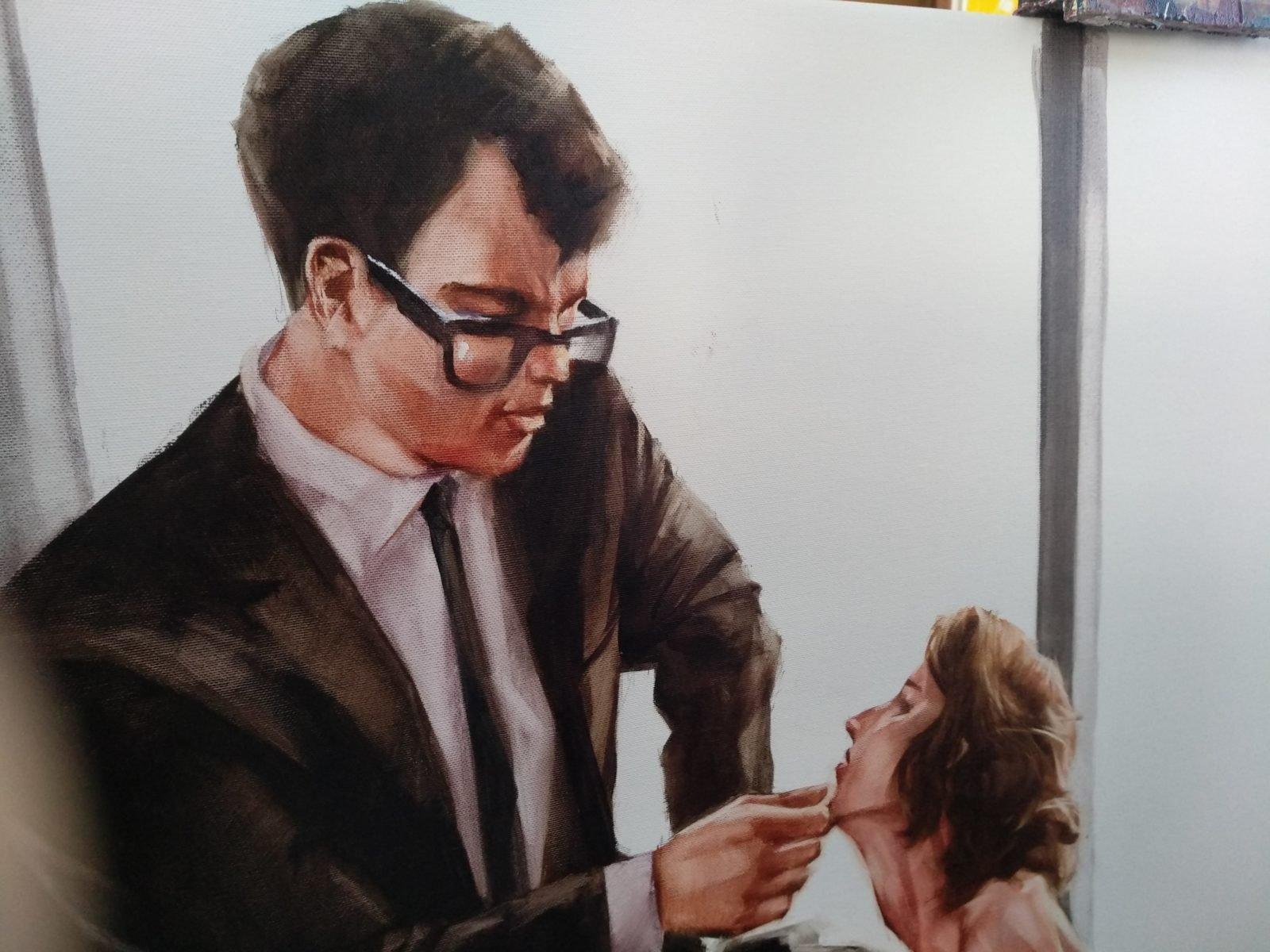 Igor Shulman is painting Staff Meeting. Start