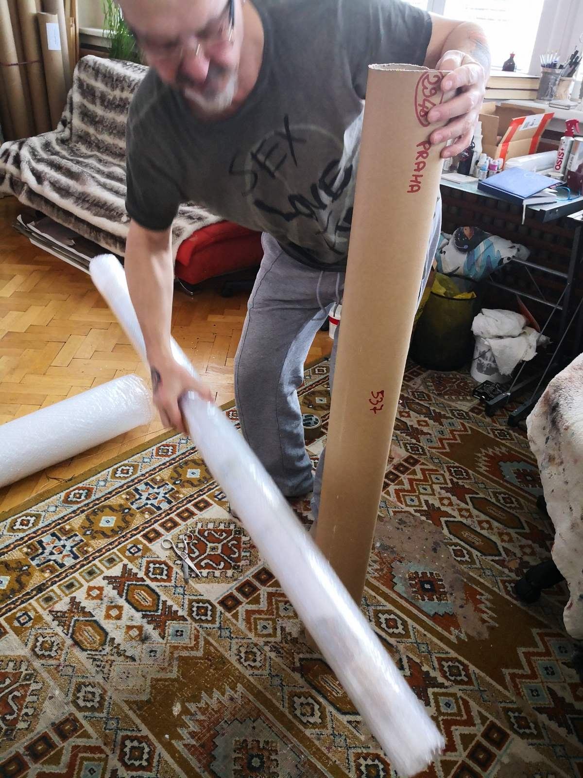The painting is rolled in tube