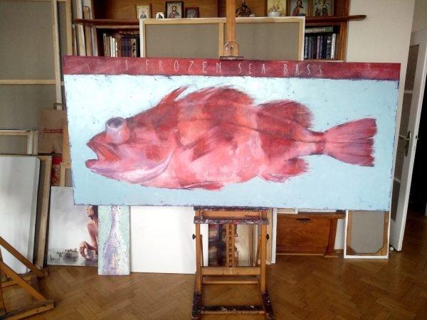 Oil Painting 1 Frozen Sea Bass at studio