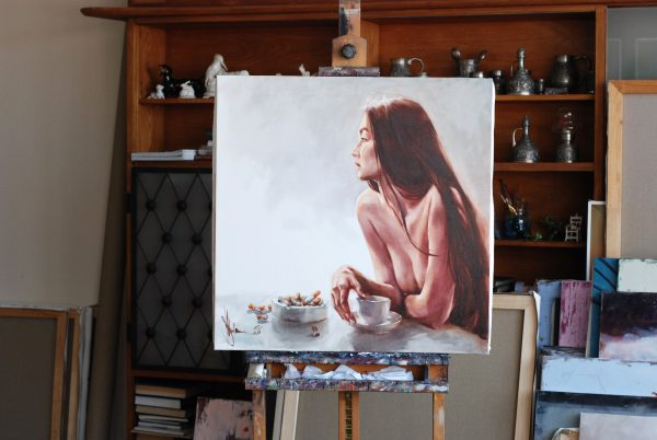 Oil Painting Breakfast too long by Igor Shulman