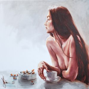 Oil Painting Breakfast too long by Igor Shulman