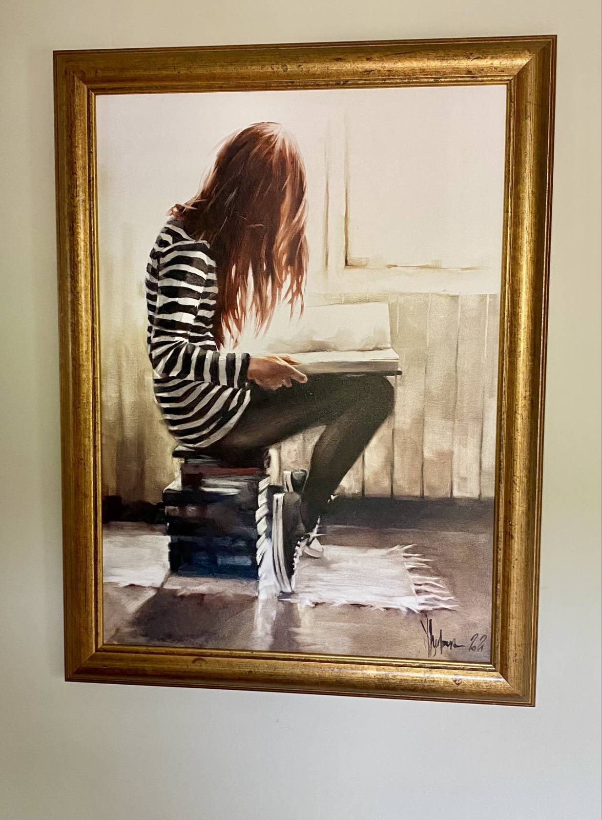 Oil Painting Love to read on the wall