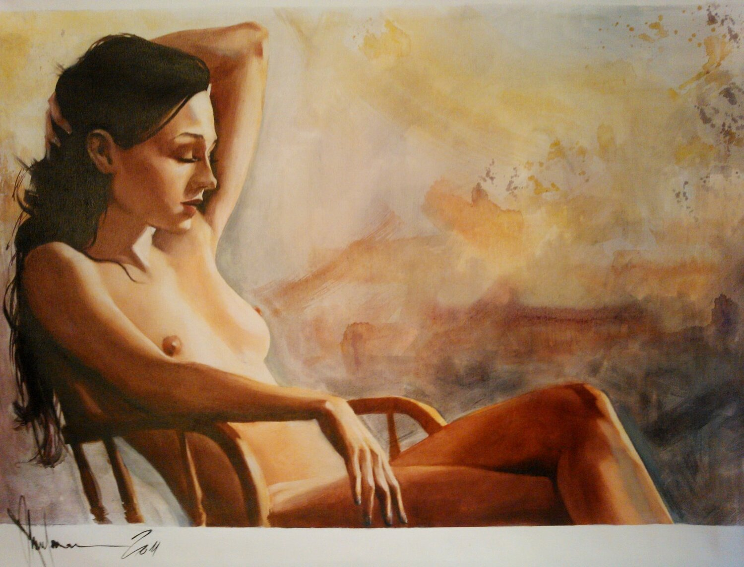 Oil Painting Evelin (2011) 35in x 42.5in / 89x108 cm. Canterbury Auction Galleries, United Kingdom
