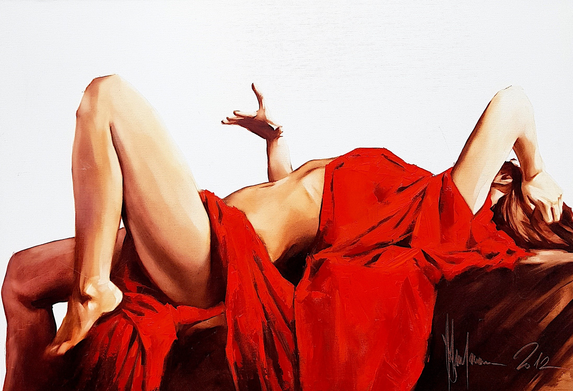 Natalie in Red – in stock (2012) 70 x 100 x 3 cm / 27.55in x 39.37in. Oil on canvas. Ships from: United Kingdom