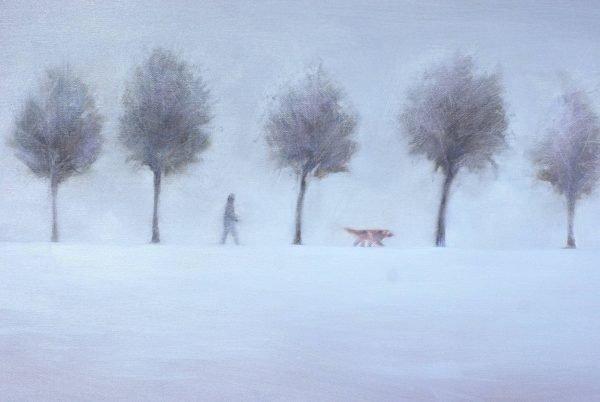 Original Oil Painting Middle of Winter by Igor Shulman-original